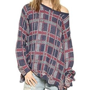 Wildfox Allover Plaid Distressed Sweater | Small